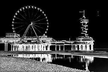 Pier von Scheveningen mit dem Bungy Tower und dem Riesenrad (Schwarz-Weiß-Negativ) von Fotografie Jeronimo