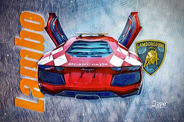 The flying Lambo van JiPé digital artwork