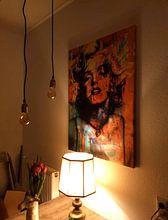 Klantfoto: Digitale Foto Kunst - Marilyn Monroe / Portret / Vrouw / Abstract / Kleuren / Beroemd / Sexy van Art By Dominic, op canvas