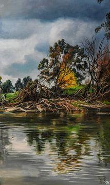 Aarde en de natuur rivier van KB Prints