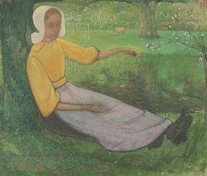 Kaisergattin unter einem Baum sitzend, Richard Nicolaüs Roland Holst, 1888 - 1895