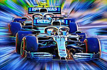 Wereldkampioen Lewis Hamilton en Valtteri Bottas van Jean-Louis Glineur alias DeVerviers