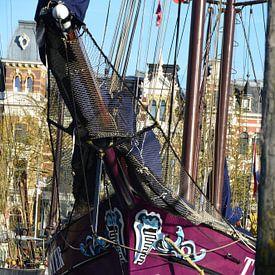 Driemasters in Veerhaven Rotterdam van Marcel van Duinen