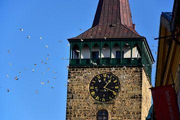 Turmuhr mit Tauben von Marcel Ethner