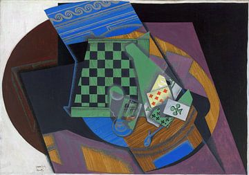 Juan GRIS, dambord en speelkaarten - 1915 van Atelier Liesjes