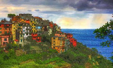 Cinque Terre - Corniglia - Italien - Italienische Riviera - Ölgemälde mit Radierung von Dirk van der Ven