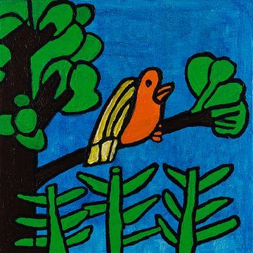 Vogel in boom van Freds Atelier