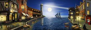 Nostalgischer Hafen im Mondlicht von