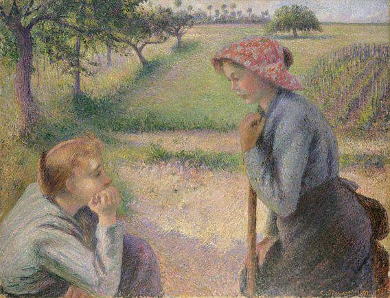 Twee Jonge Vrouwen van de boer, Camille Pissarro