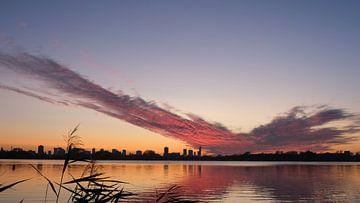 Skyline van Rotterdam vanuit zonsondergang Kralingse Plas, Nederland van themovingcloudsphotography