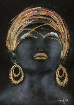 Afrikanische Frau mit Gold. von Ineke de Rijk