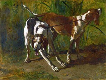 Constant Troyon, Aangelijnde honden - 1860 van Atelier Liesjes