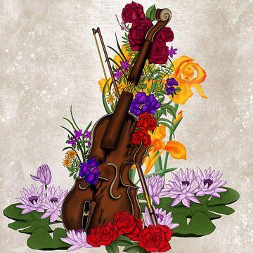 Kaputte Geige umgeben von Blumen