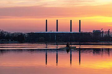 Kanoër op de Allersee bij zonsondergang van Marc-Sven Kirsch