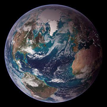 Foto van de Aarde van NASA Met Europa, Afrika en de Amerikas van Atelier Liesjes
