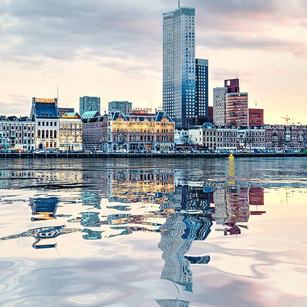 Waterspiegeling Noordereiland van Frans Blok