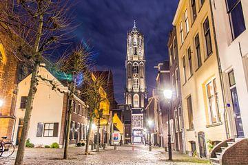 Dom Toren vanaf Zadelstraat in Utrecht van Dimitri van Beerschoten