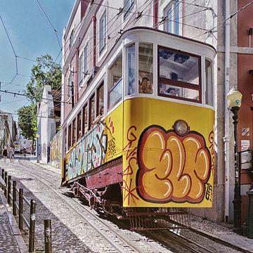 Lissabon: Ascensor da Glória, ook wel Ascensor da Glória genoemd.