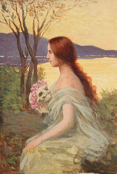 Rodolfo Amoedo-Feminine Figur mit einem Totenkopf mit Blumen.