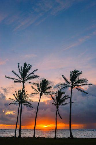 Sunrise at Kapaa Beach Park, Kauai, Hawaii van Henk Meijer Photography