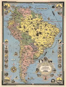 Historische kaart van Zuid-Amerika van World Maps