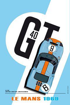 Ford GT40 Le Mans winnaar 1969 Jacky Ickx, Jackie Oliver van Theodor Decker