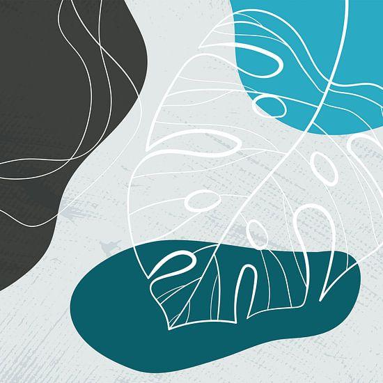 Stilistische bladeren, vormen en lijnen: blauw, grijs en petrol