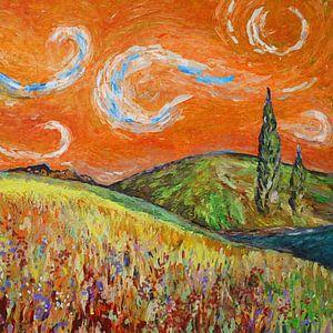 Landschap schilderij met oranje lucht en cypresse bomen