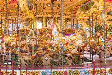 Kleurrijke carrousel paarden van Elles Rijsdijk