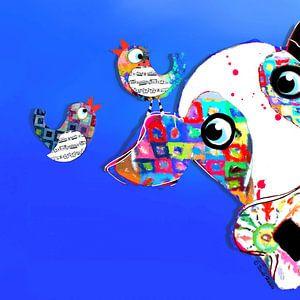 Vrolijk schilderij van kleurrijke kleuren en vogels van