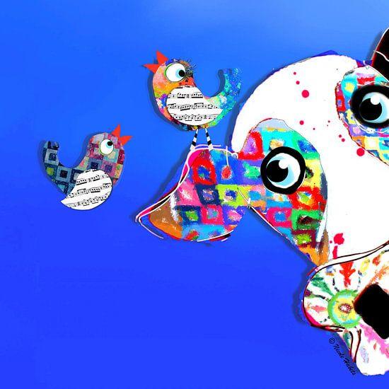 Vrolijk schilderij van kleurrijke kleuren en vogels