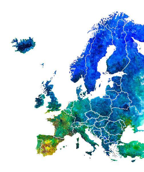 Kaart van Europa in Aquarel van Wereldkaarten.Shop