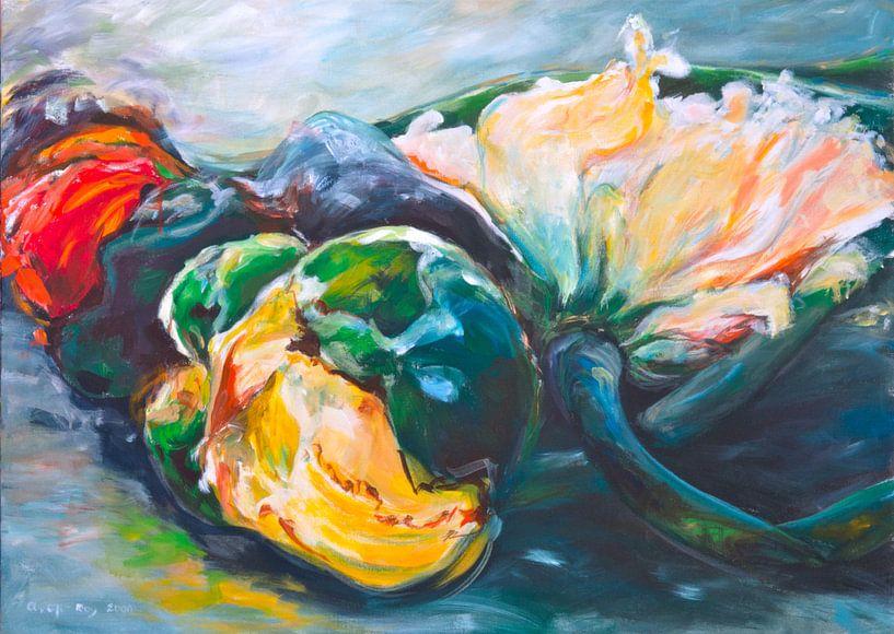 anemonen   65x90cm van Angelika Oft-Roy