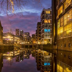 Ochtendgloren in de Rotterdamse binnenstad van Frans Blok