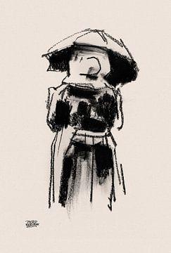 Huizervrouw met plu van Pieter Hogenbirk