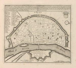 Oude kaart van Keulen van omstreeks 1720