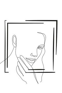 Strichzeichnung Gesicht von by Tessa