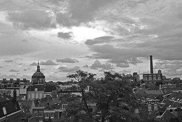 Uitzicht vanaf de Burcht in Leiden in zwartwit