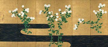 Ogata Korin. Chrysanten bij een stroom van
