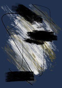 Peinture abstraite à l'encre et aux rayures 3 sur Romee Heuitink