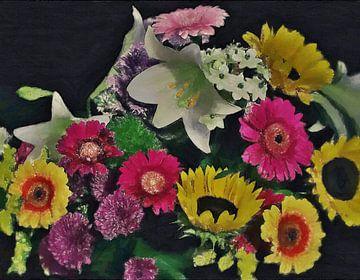 Ein fröhlicher Blumenstrauß - Gemalt - Malerei von Schildersatelier van der Ven
