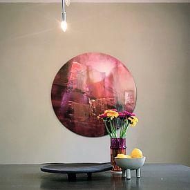 Klantfoto: Doorzichtigheid: rood ontmoet magenta en roze van Annette Schmucker, als ronde print