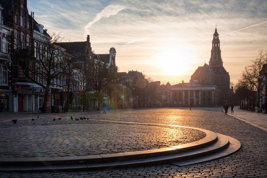 Vismarkt Groningen bij Zonsondergang