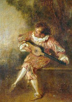 Jean-Antoine Watteau, der Stifter der Serenaden (Mezzetino) - 1715 von Atelier Liesjes