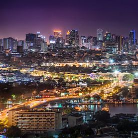 Panorama of the Bangkok skyline van Jelle Dobma