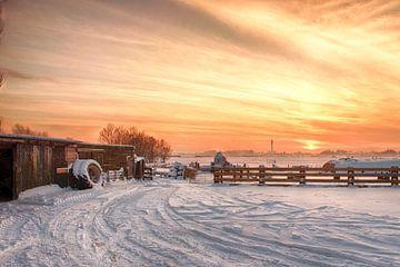Sonnenuntergang Spaarndam von Wouter Moné