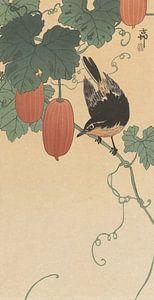 Vogel en kaki van Ohara Koson