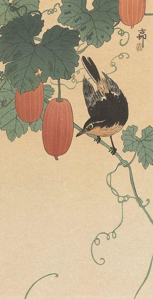 Vogel en kaki van Ohara Koson van Gave Meesters