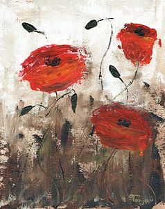 """Impressionistisch schilderij """"Rode Klaprozen"""" (1) van"""