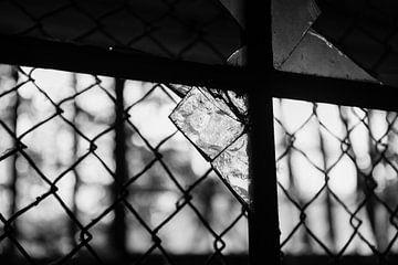 Zerbrochenes Glas im Fenster, Kellergefängnis von Danique Verkolf